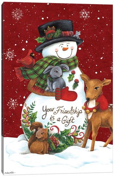 Snowman with Deer Canvas Art Print