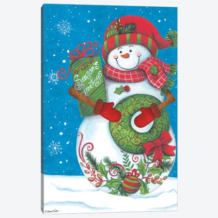 Snowman with Wreaths Canvas Print #DKT16} by Diane Kater Canvas Art