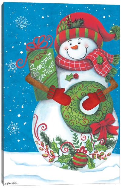 Snowman with Wreaths Canvas Art Print