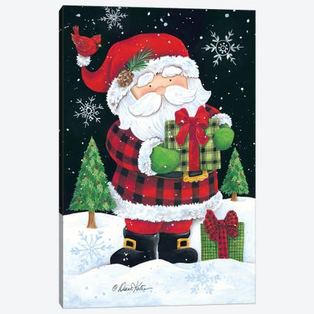 Plaid Santa Claus Canvas Print #DKT17} by Diane Kater Canvas Artwork