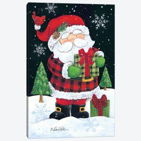 Plaid Santa Claus Canvas Print #DKT17} by Diane Kater Canvas Artwork