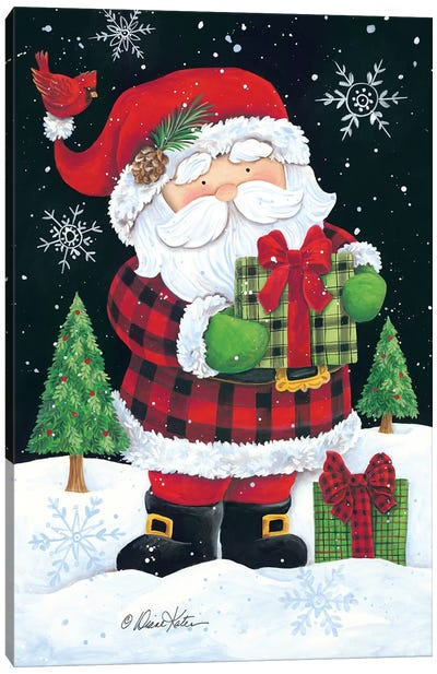 Plaid Santa Claus Canvas Art Print