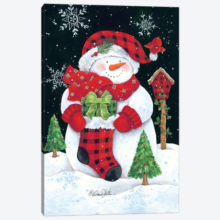 Plaid Snowman Canvas Print #DKT18} by Diane Kater Canvas Print