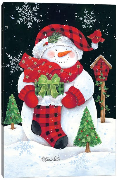Plaid Snowman Canvas Art Print