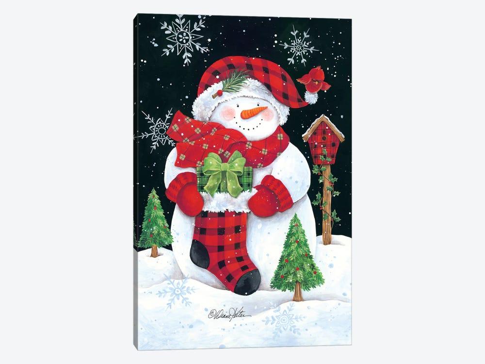 Plaid Snowman by Diane Kater 1-piece Canvas Art Print