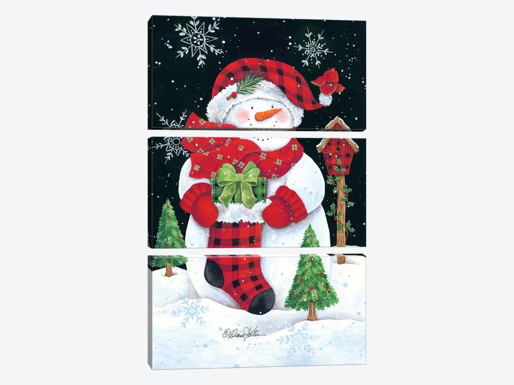 Plaid Snowman by Diane Kater 3-piece Canvas Print
