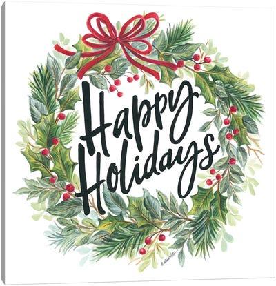 Happy Holidays Wreath Canvas Art Print