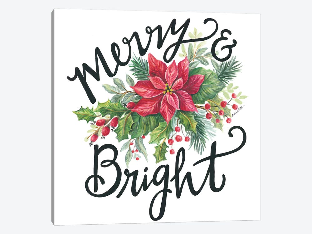 Merry & Bright Wreath by Diane Kater 1-piece Canvas Art