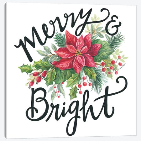 Merry & Bright Wreath Canvas Print #DKT20} by Diane Kater Canvas Wall Art