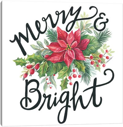 Merry & Bright Wreath Canvas Art Print