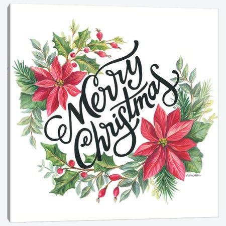 Merry Christmas Wreath Canvas Print #DKT21} by Diane Kater Canvas Art