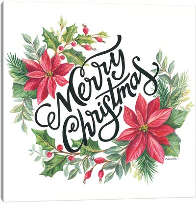 Merry Christmas Wreath Canvas Art Print
