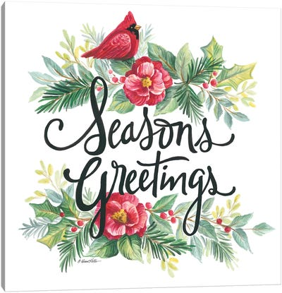 Seasons Greetings Wreath Canvas Art Print