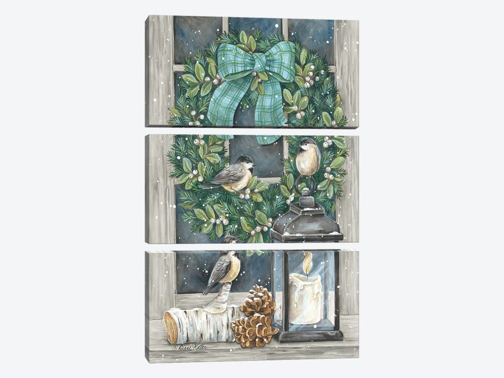 Winter Wreath by Diane Kater 3-piece Canvas Print