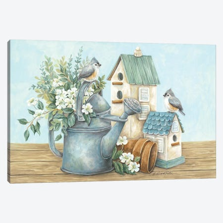 Watering Can and Chickadees Canvas Print #DKT24} by Diane Kater Art Print