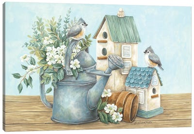 Watering Can and Chickadees Canvas Art Print