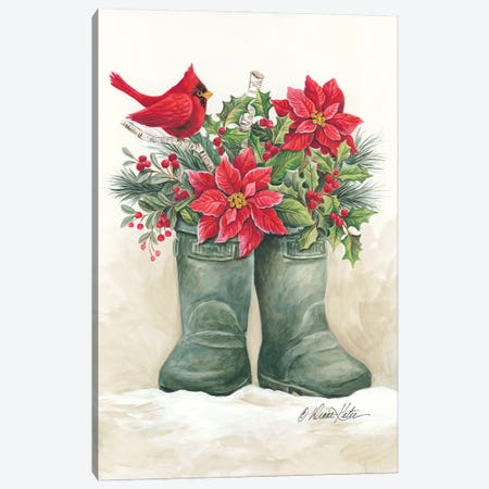 Christmas Lodge Boots Canvas Print #DKT25} by Diane Kater Canvas Print