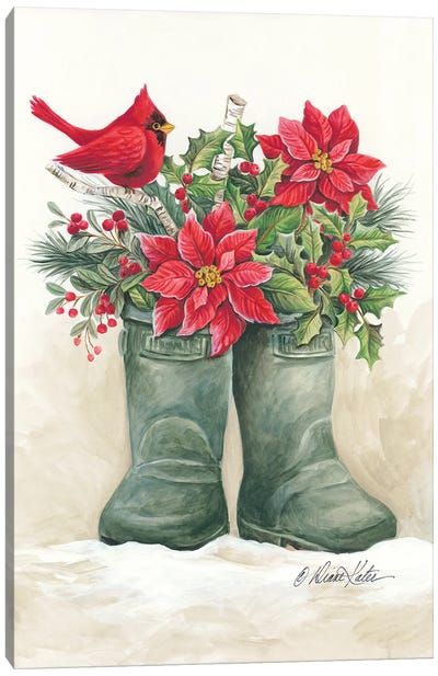 Christmas Lodge Boots Canvas Art Print