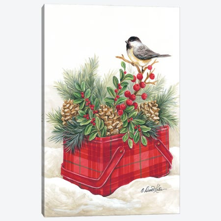 Christmas Lodge Vintage Tin Canvas Print #DKT26} by Diane Kater Art Print