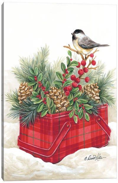 Christmas Lodge Vintage Tin Canvas Art Print
