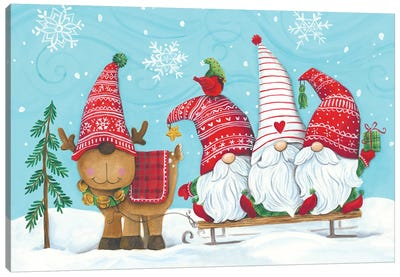 Elf Gnome Trio With Reindeer Canvas Art Print