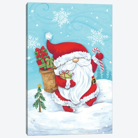 Santa Gnome Canvas Print #DKT29} by Diane Kater Canvas Artwork