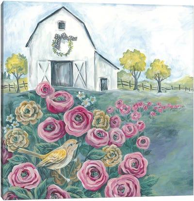 Pink Flower Field Canvas Art Print