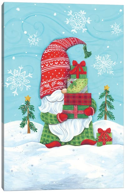 Elf Gnome with Presents Canvas Art Print