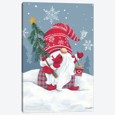 Snowy Gnome with Cardinal Canvas Print #DKT31} by Diane Kater Canvas Art Print