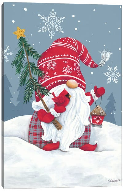 Snowy Gnome with Cardinal Canvas Art Print
