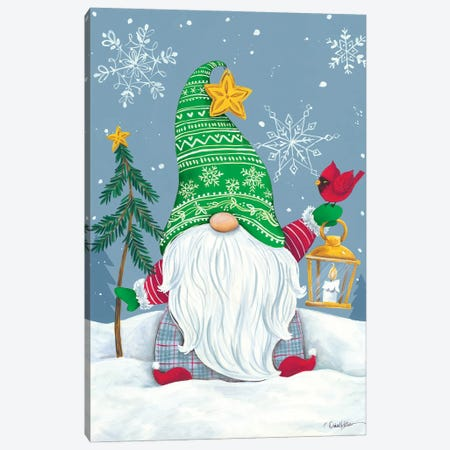 Snowy Gnome with Lantern Canvas Print #DKT32} by Diane Kater Canvas Print