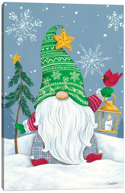 Snowy Gnome with Lantern Canvas Art Print