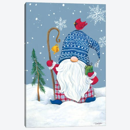 Snowy Gnome with Present Canvas Print #DKT33} by Diane Kater Art Print