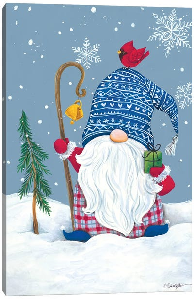 Snowy Gnome with Present Canvas Art Print