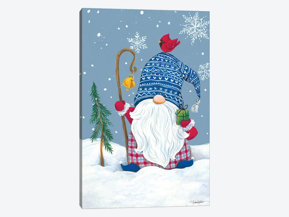 Snowy Gnome with Present by Diane Kater 1-piece Canvas Artwork