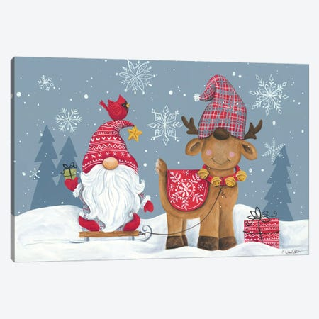 Snowy Gnome with Reindeer Canvas Print #DKT34} by Diane Kater Canvas Artwork