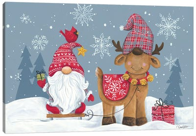 Snowy Gnome with Reindeer Canvas Art Print