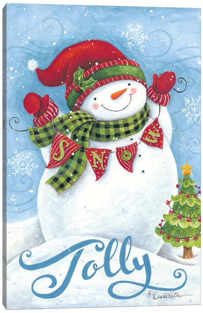 Jolly Snowman Canvas Art Print