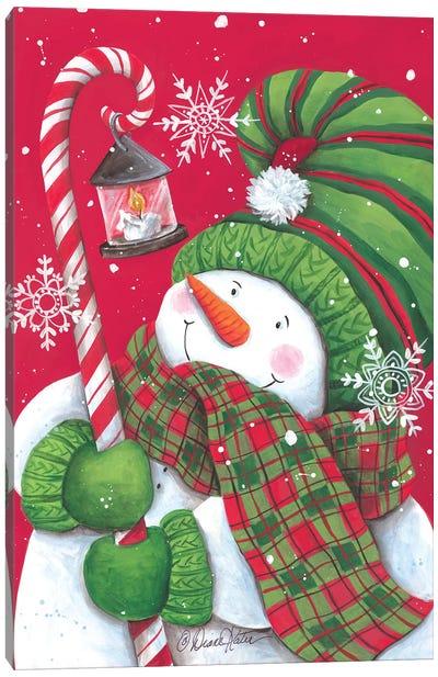 Snowman With Candy Cane Light Canvas Art Print