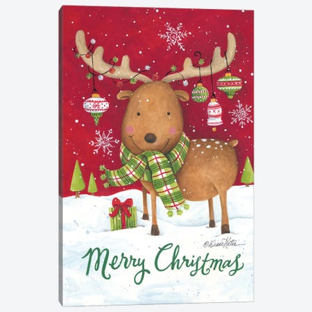 Merry Christmas Reindeer Canvas Print #DKT5} by Diane Kater Canvas Art Print