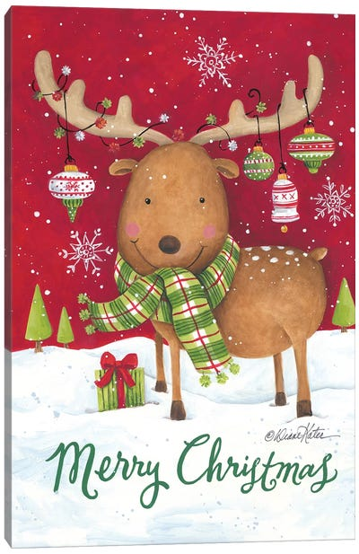 Merry Christmas Reindeer Canvas Art Print