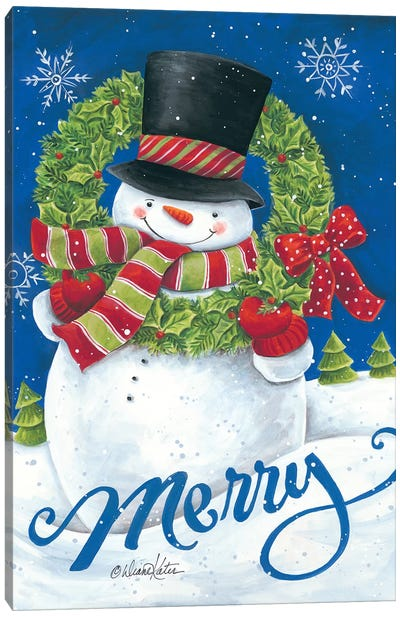 Merry Snowman Canvas Art Print