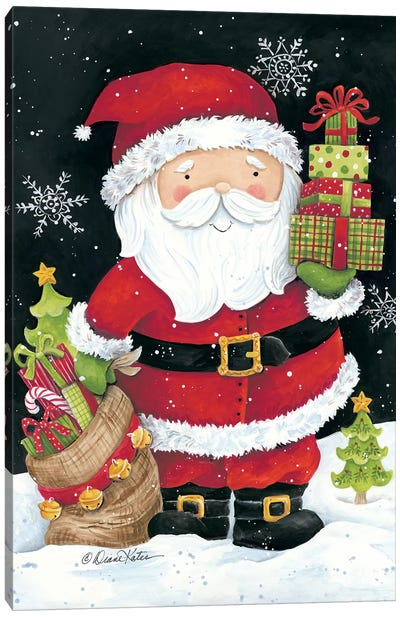 Santa Claus with Presents Canvas Art Print