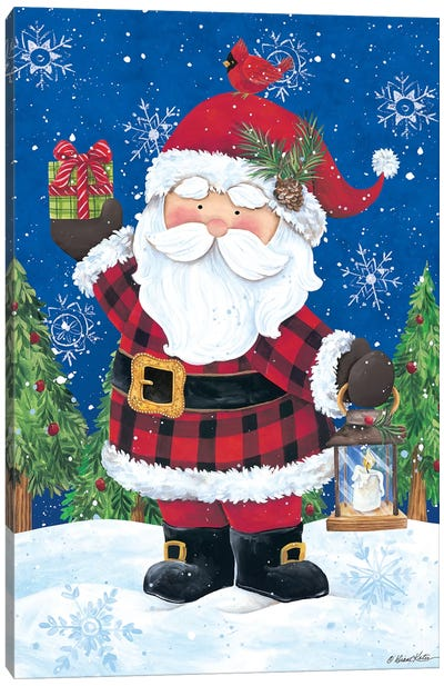 Santa with Lantern Canvas Art Print
