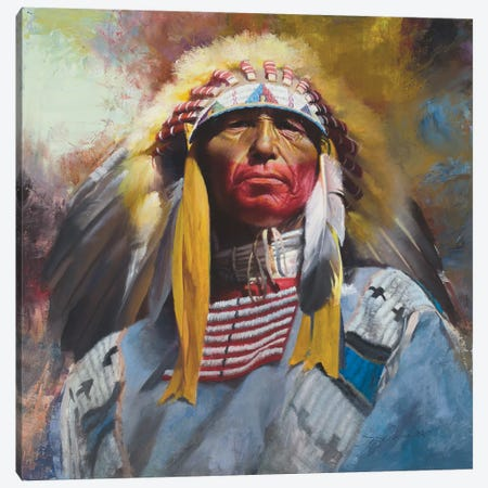 One Chief Canvas Print #DKU51} by David Edward Kucera Canvas Art