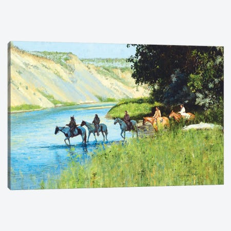 Across the Little Bighorn Canvas Print #DKU7} by David Edward Kucera Canvas Wall Art