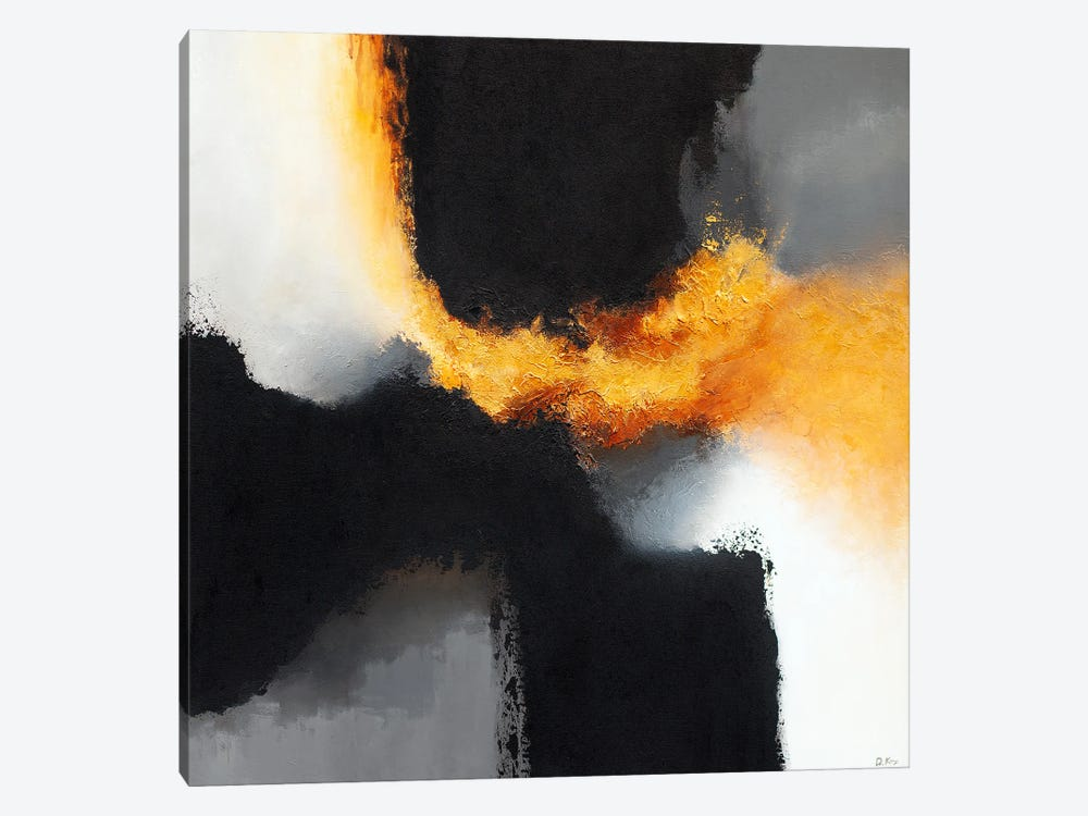 Gold & Black X by Daniel Kozeletckiy 1-piece Canvas Art
