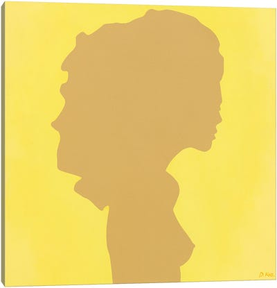 Shadow Of A Young Girl On Yellow Canvas Art Print
