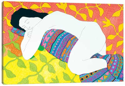 Sleeping With A Blanket Canvas Art Print