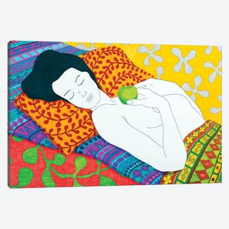 Sleeping With A Bright Green Apple Canvas Print #DKZ43} by Daniel Kozeletckiy Canvas Wall Art